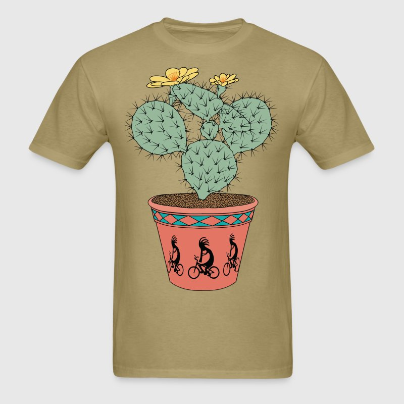 Pear Cactus Bike In Pot With Kokopelli On Bike T-Shirts - Men's T-Shirt