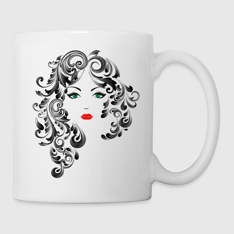 Beautiful Girl Sketch with Green Eyes, Line Art Mugs & Drinkware - Coffee/Tea Mug