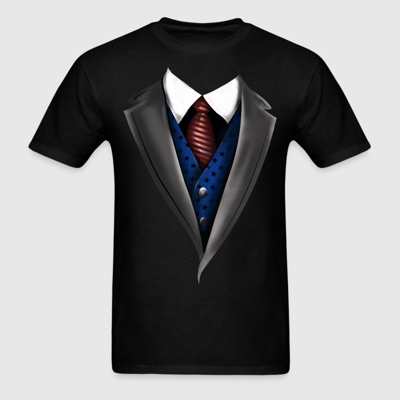 Tuxedo Tie Designs blue vest T-Shirts - Men's T-Shirt
