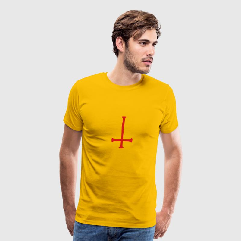 satan text cross evil logo reversed T-Shirts - Men's Premium T-Shirt