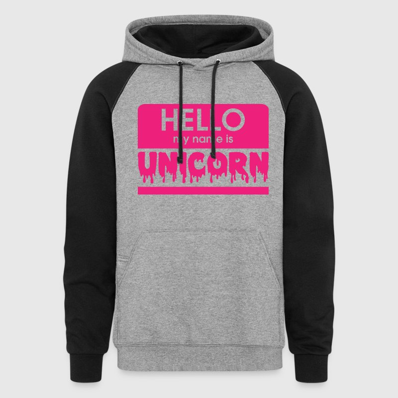 hello my name is unicorn Hoodies - Colorblock Hoodie