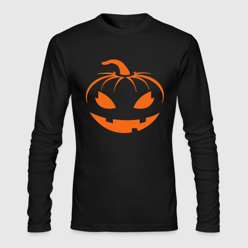 pumpkin face halloween horror orange creepy scary  Long Sleeve Shirts - Men's Long Sleeve T-Shirt by Next Level