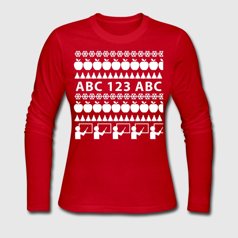 Ugly Christmas Shirt (Teachers) - Women's Long Sleeve Jersey T-Shirt