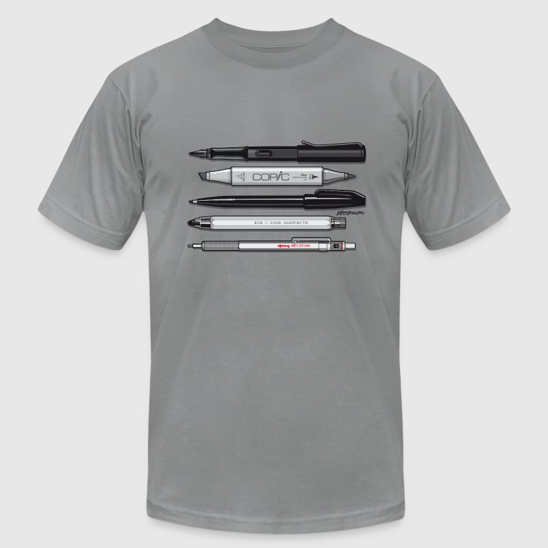 Pro Pens (Grey) Rotring 600, Lamy, Koh-I-Noor, Pen T-Shirts - Men's T-Shirt by American Apparel