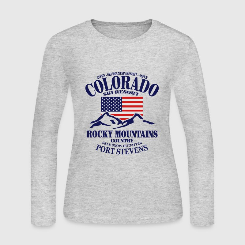 Aspen - Colorado Ski Resort - USA Flag Long Sleeve Shirts - Women's Long Sleeve Jersey T-Shirt