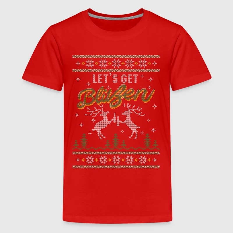UGLY HOLIDAY SWEATER LET'S GET BLITZEN Kids' Shirts - Kids' Premium T-Shirt