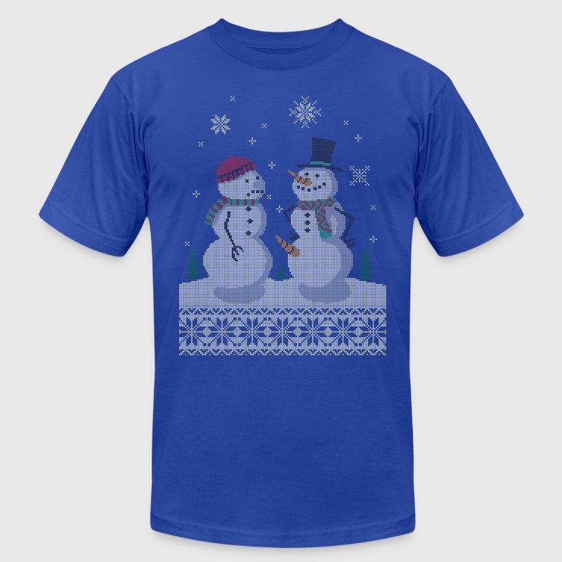 UGLY HOLIDAY SWEATER HAPPY SNOWMAN CARROT THIEF T-Shirts - Men's Fine Jersey T-Shirt