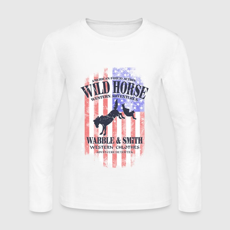 Wild Horse Rodeo - USA vintage flag Long Sleeve Shirts - Women's Long Sleeve Jersey T-Shirt