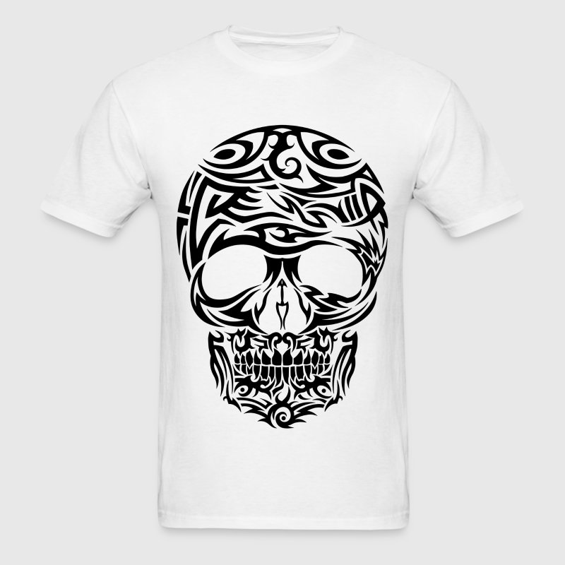 Tribal Tattoo Style Black Skull Men's T-Shirt - Men's T-Shirt