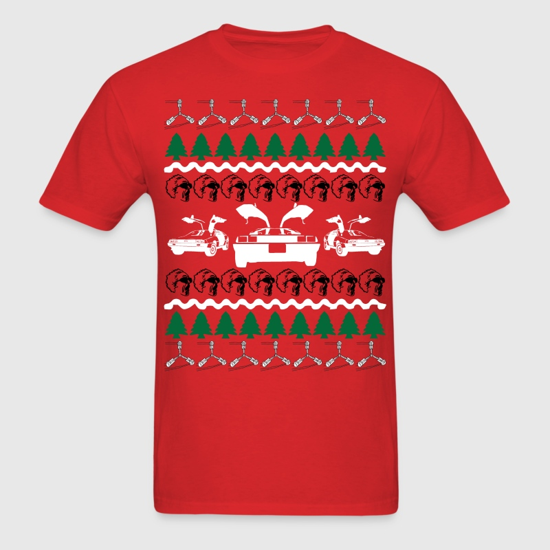 Back to the Future Ugly Christmas Sweater T-Shirts - Men's T-Shirt