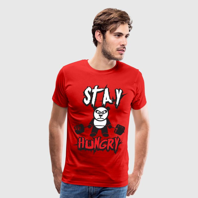 Stay Hungry (Panda Bear) - Gym Motivation T-Shirts - Men's Premium T-Shirt
