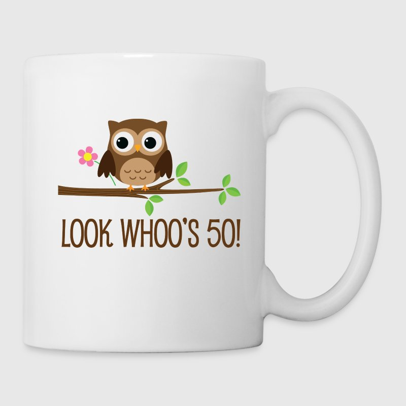 50th Birthday Owl Look Whoos 50 Mugs & Drinkware - Coffee/Tea Mug