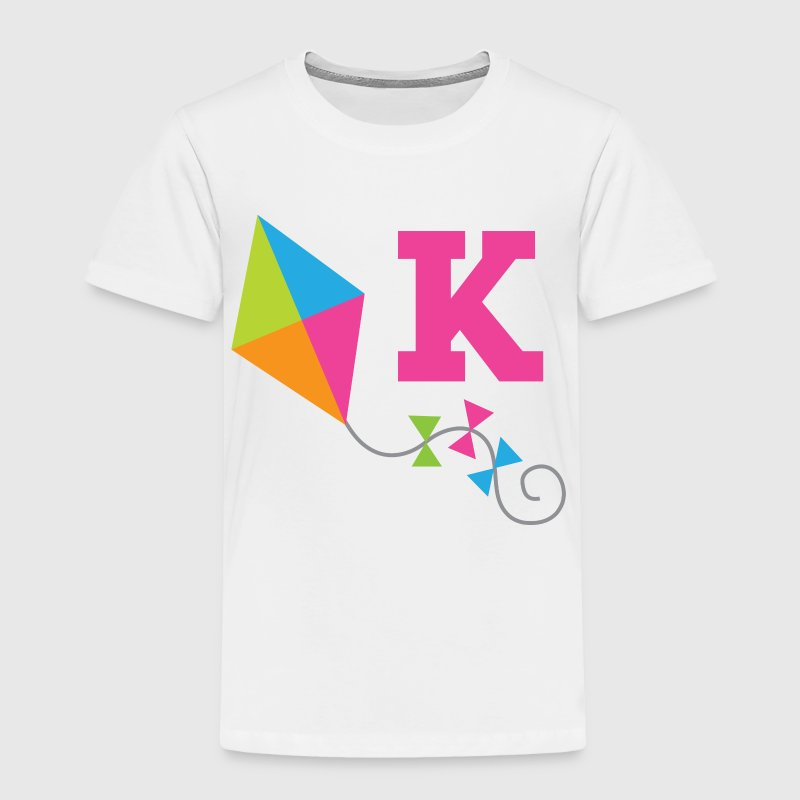 Letter K Cute Kite Monogram Alphabet Baby & Toddler Shirts - Toddler Premium T-Shirt