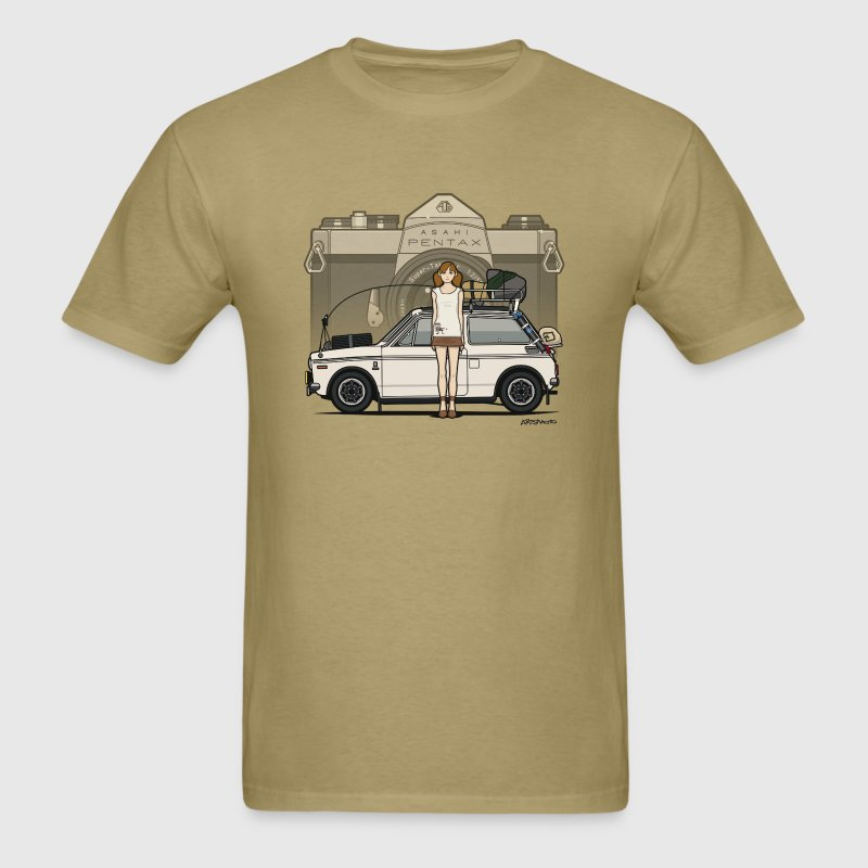 Honda N600 Rally Kei Car With Asahi Pentax Girl T-Shirts - Men's T-Shirt
