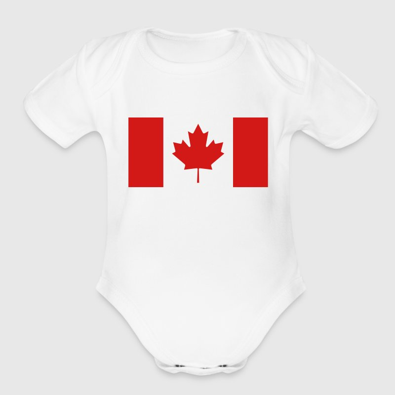 Canadian Flag Baby Bodysuits - Short Sleeve Baby Bodysuit