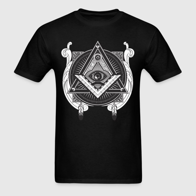 Cool illuminati triangle pyramid and eye - Men's T-Shirt