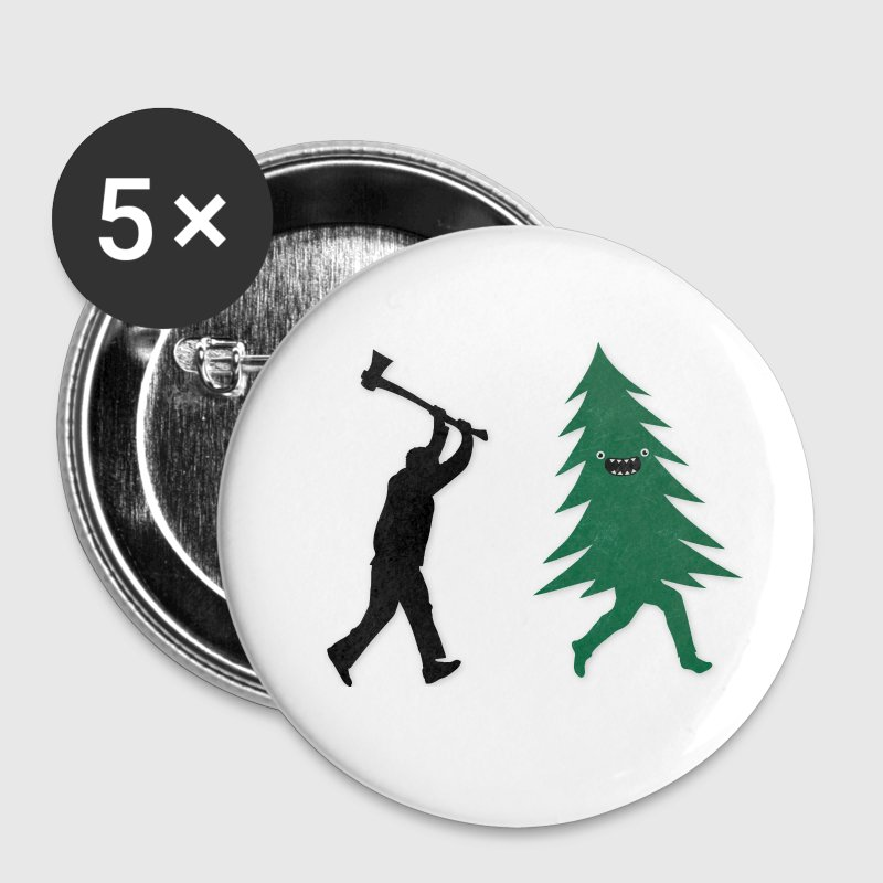 Funny Christmas Tree Hunted by lumberjack Humor Buttons - Small Buttons