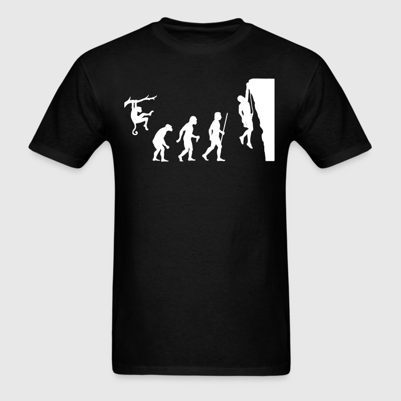 Evolution of Man and Rock Climbing - Men's T-Shirt
