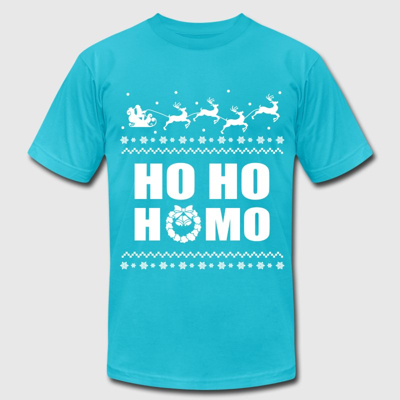 Ho Ho Homo Christmas LGBT Ugly Sweater T-Shirts - Men's T-Shirt by American Apparel