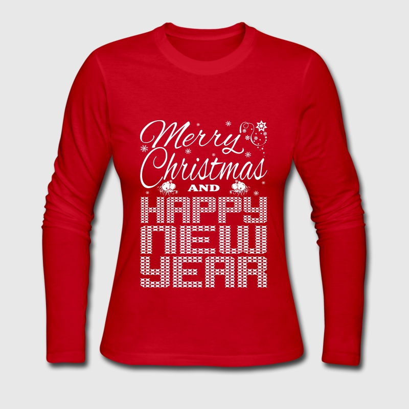 Merry Christmas Happy New Year Long Sleeve Shirts - Women's Long Sleeve Jersey T-Shirt