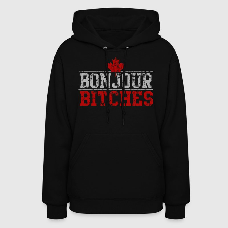 Vintage Bonjour Bitches Canadian Hoodies - Women's Hoodie