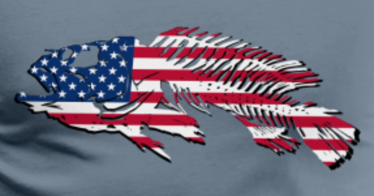 Fish usa flag t shirt spreadshirt for American flag fish hat