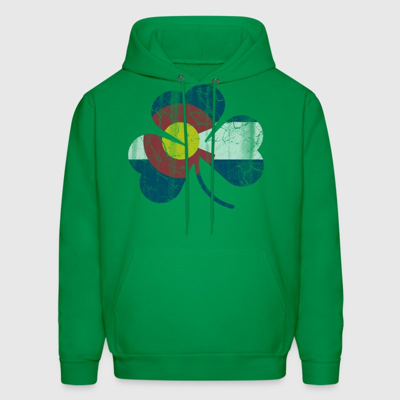 Irish Shamrock Colorado Flag  Hoodies - Men's Hoodie