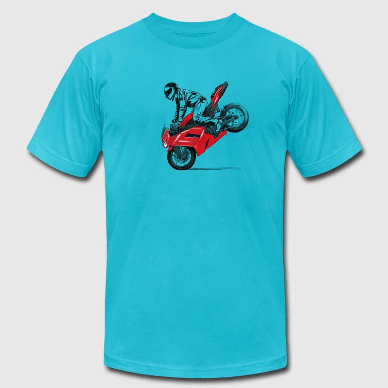 motorcycle stunt T-Shirts - Men's T-Shirt by American Apparel