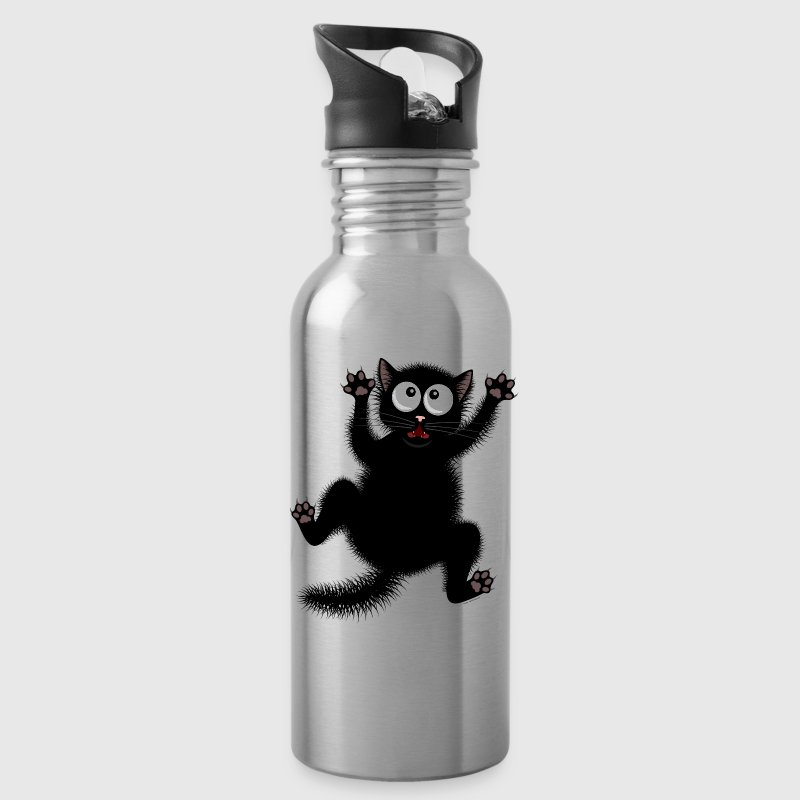 Funny Scared Cartoon Cat - Water Bottle