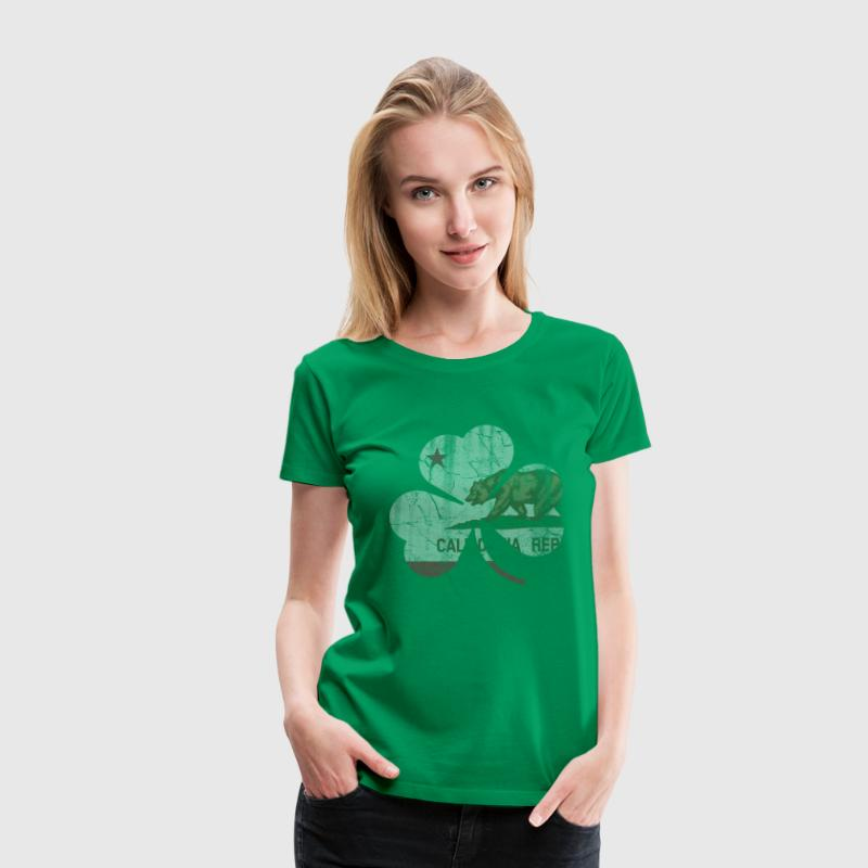Vintage Irish Flag of California Shamrock Women's T-Shirts - Women's Premium T-Shirt