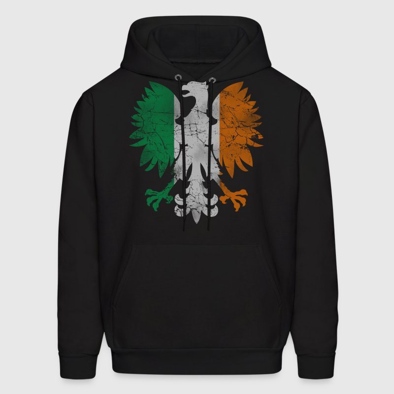 Polish White Eagle Irish Flag Hoodies - Men's Hoodie