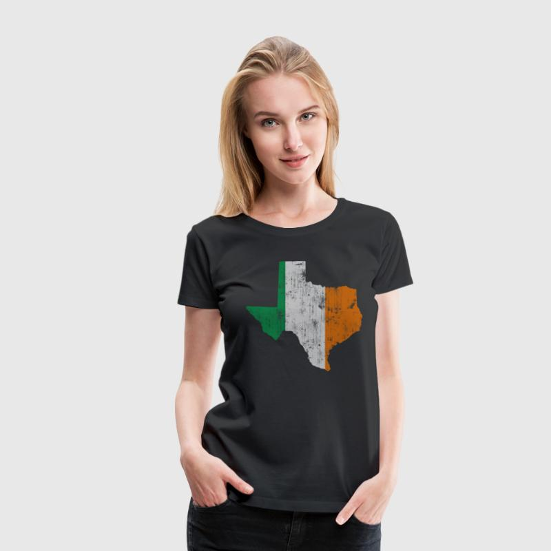 Texas Flag State Outline Irish Flag Women's T-Shirts - Women's Premium T-Shirt