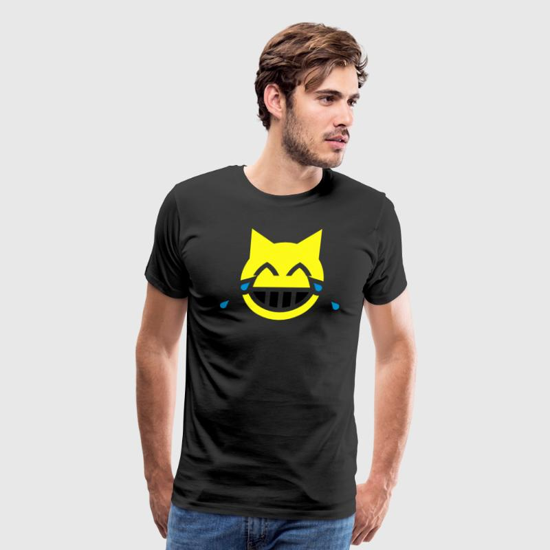 Tears of Joy Emoji Cat T-Shirts - Men's Premium T-Shirt