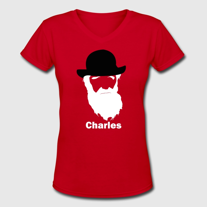 Charles Darwin cool silhouette and hirsute - Women's V-Neck T-Shirt
