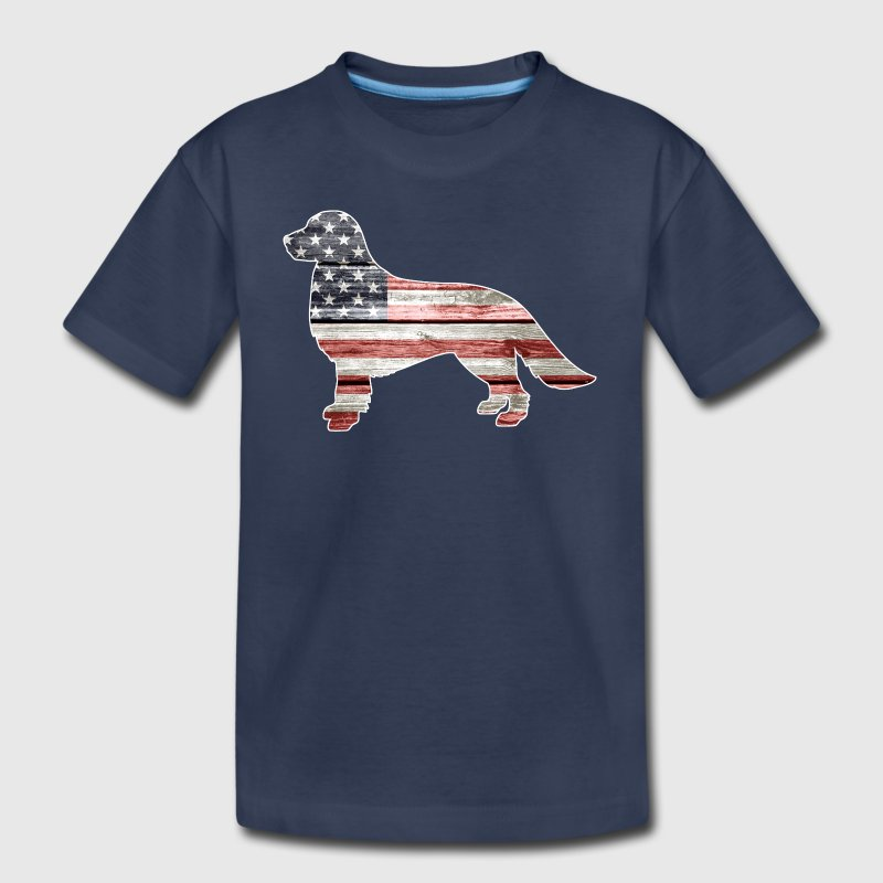 Patriotic Golden Retriever, American Flag - Kids' Premium T-Shirt