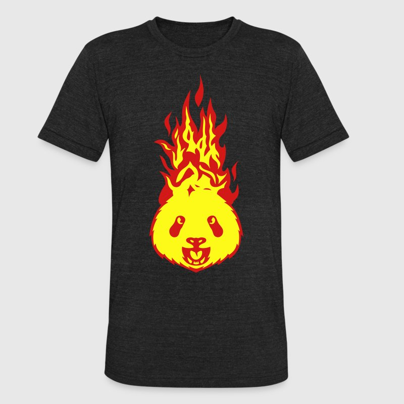 panda fire flame head 310 T-Shirts - Unisex Tri-Blend T-Shirt by American Apparel