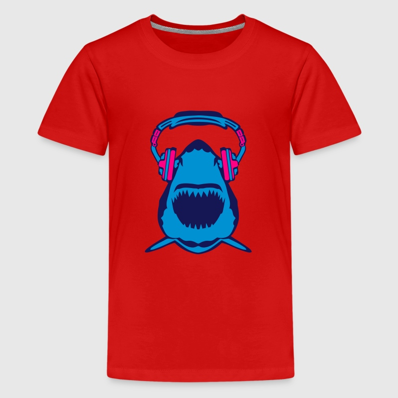shark jaws audio music headphones skull Kids' Shirts - Kids' Premium T-Shirt