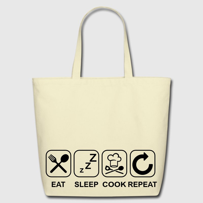 Eat Sleep Cook Repeat Bags & backpacks - Eco-Friendly Cotton Tote