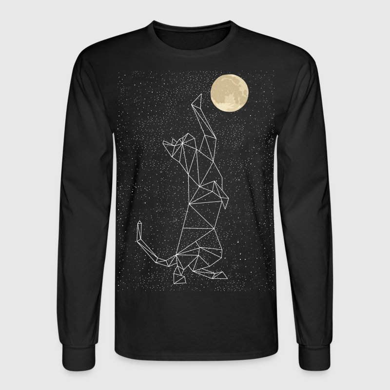Cat Constellation Reaching For Moon Long Sleeve Shirts - Men's Long Sleeve T-Shirt