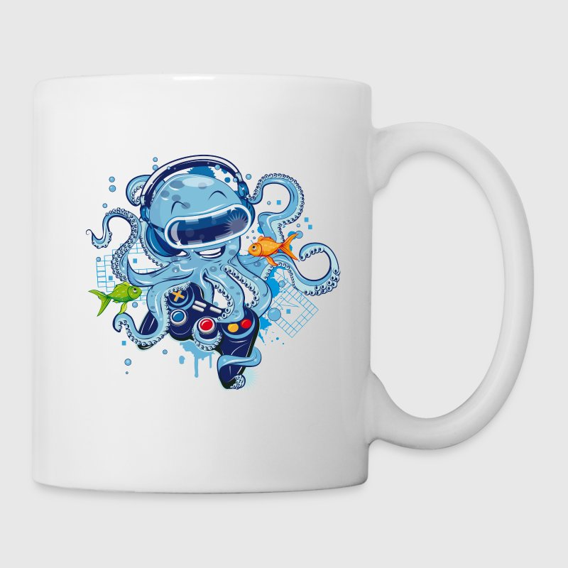 Octopus with gamepad and VR goggles Mugs & Drinkware - Coffee/Tea Mug