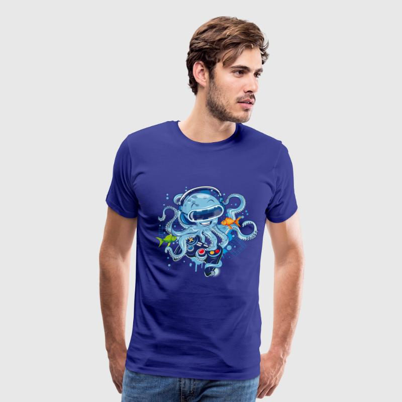 Octopus with gamepad and VR goggles T-Shirts - Men's Premium T-Shirt