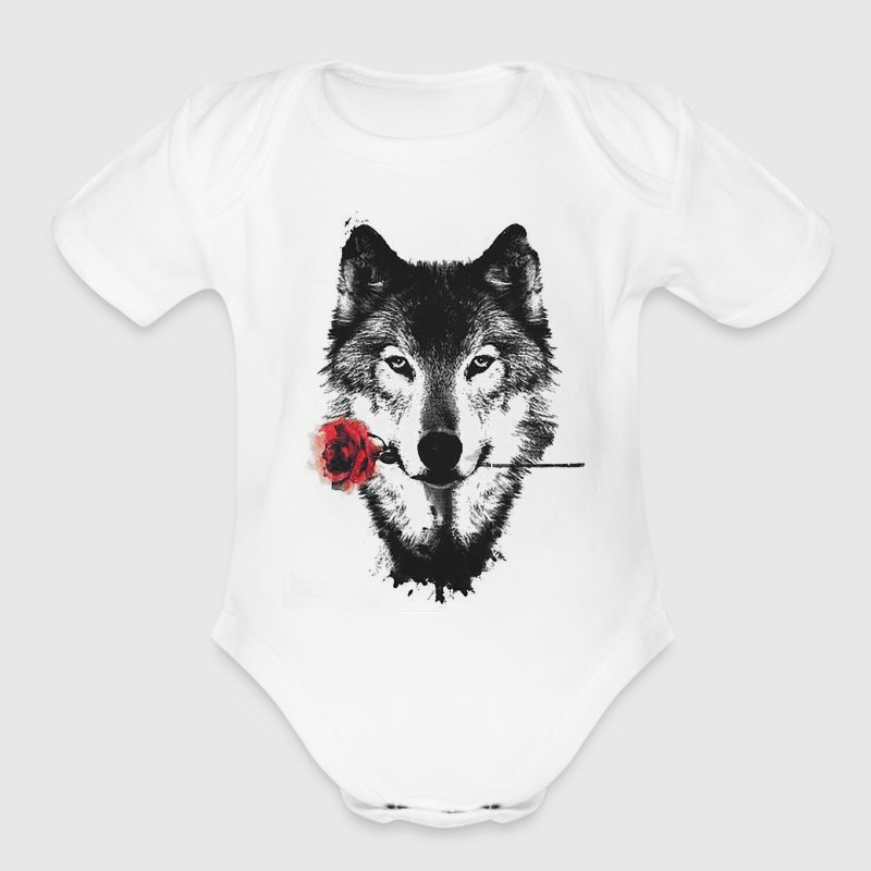 Wolf Rose Baby Bodysuits - Short Sleeve Baby Bodysuit