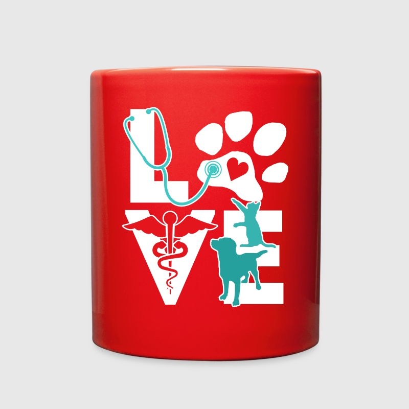 Veterinarian Love Cat and Dog Veterinary T Shirt Mugs & Drinkware - Full Color Mug