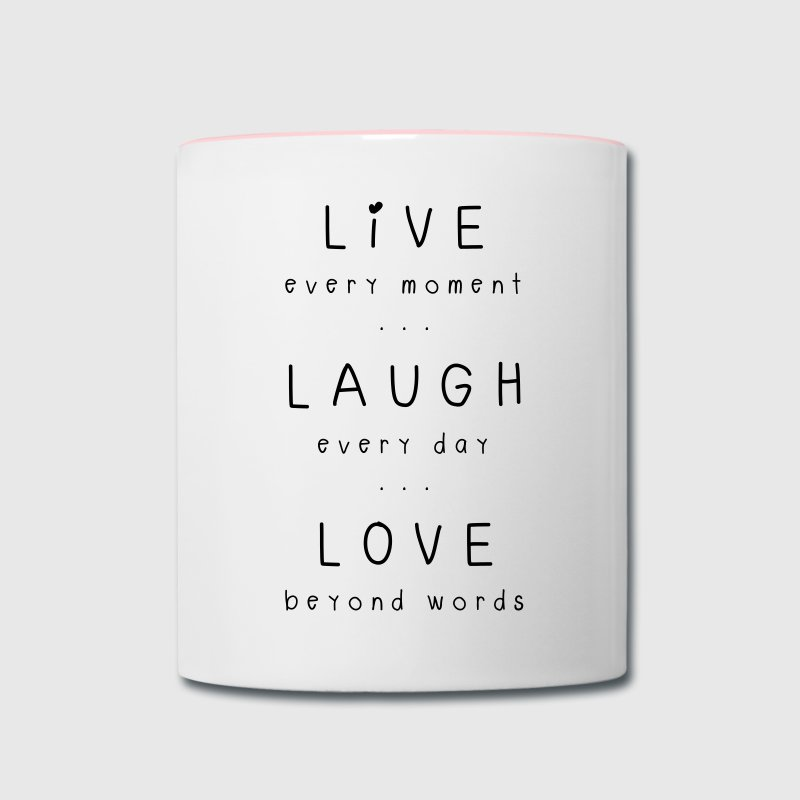 live laugh love motto Mugs & Drinkware - Contrast Coffee Mug
