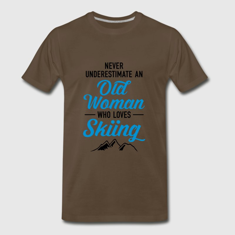 Never Underestimate An Old Woman Who Loves Skiing T-Shirts - Men's Premium T-Shirt