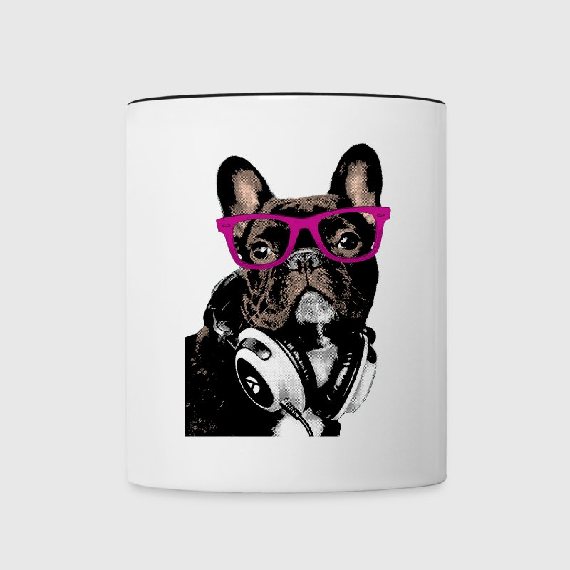 Hipster Frenchie Mugs & Drinkware - Contrast Coffee Mug