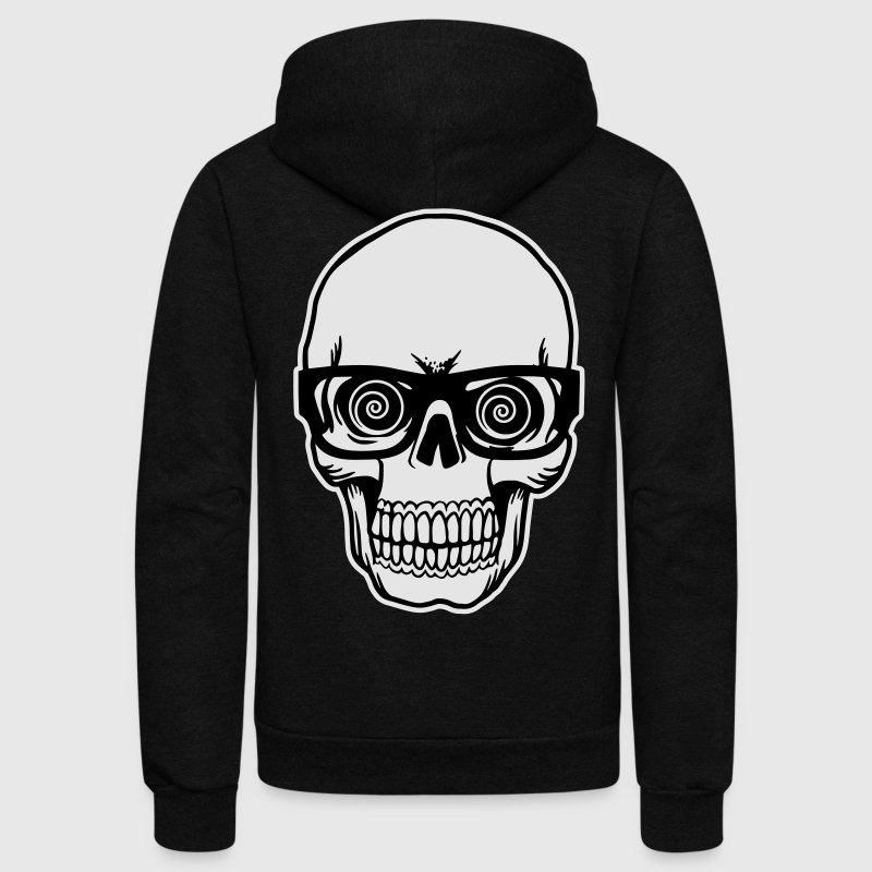 skull with glasses Zip Hoodies & Jackets - Unisex Fleece Zip Hoodie by American Apparel