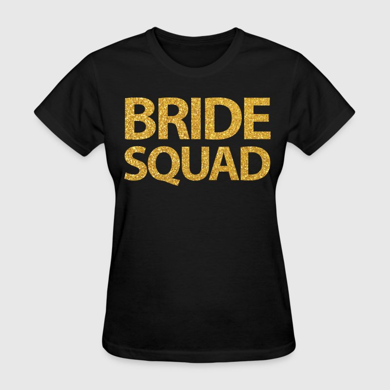 Black Bride Squad Shirts With Golden Sequins - Women's T-Shirt