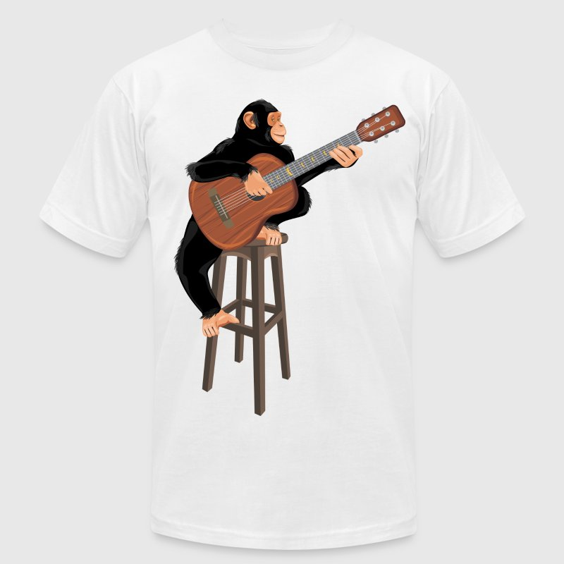Monkey with acoustic guitar - Men's T-Shirt by American Apparel