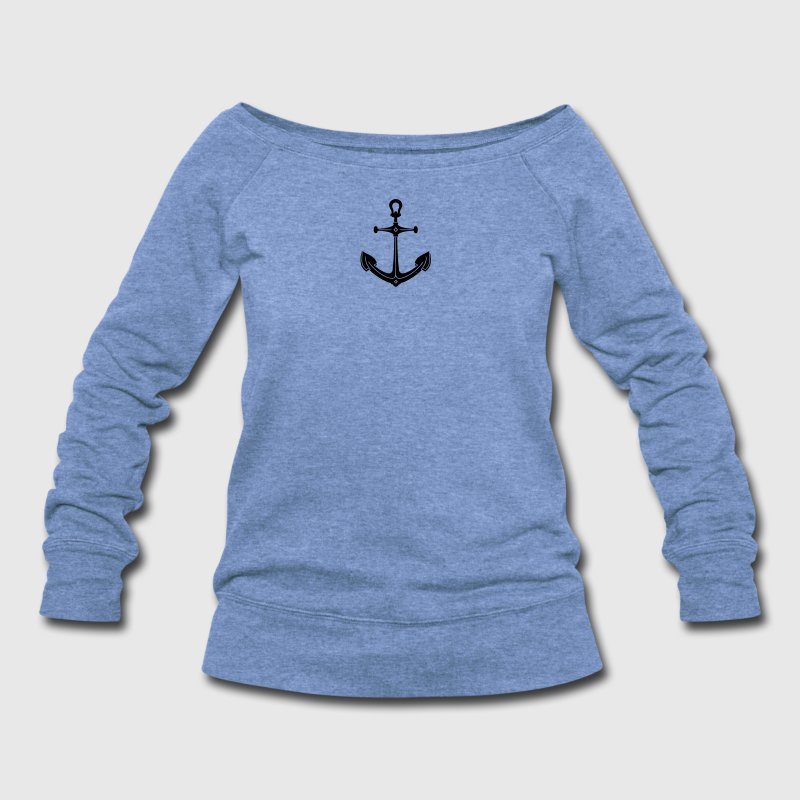 anchor (1c) Long Sleeve Shirts - Women's Wideneck Sweatshirt